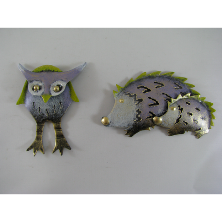 2 Magnets duo hérisson- hibou métal