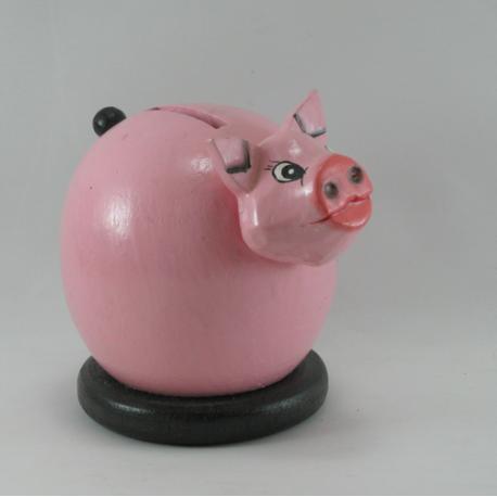 Tirelire cochon rose en bois