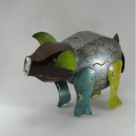 Cochon métal artisanat jardin maison