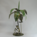 Bougeoir palmier flutiste 39cm métal