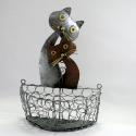 Petit panier chat mural métal