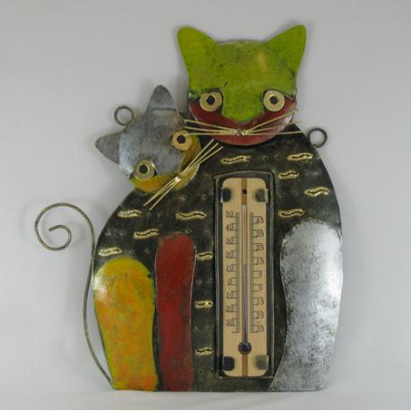 Thermomètre mural duo chat métal