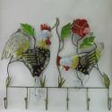 Porte-manteaux mural coq poule métal