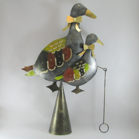 Cloche murale duo canard métal fait-main