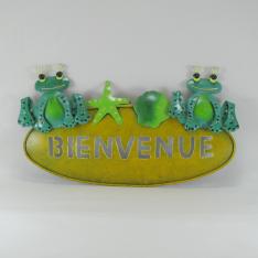 Plaque murale de bienvenue grenouille en métal