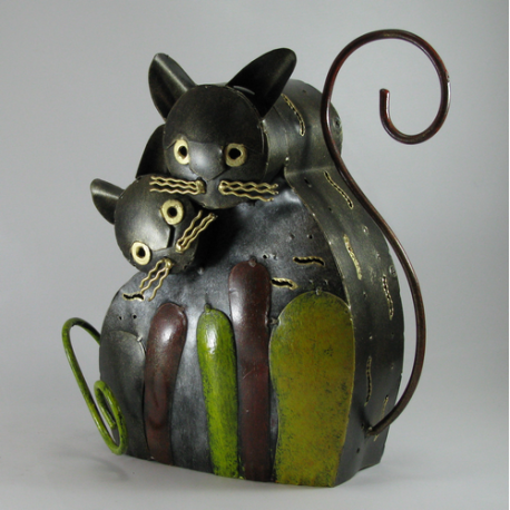 Chat duo métal artisanat jardin maison