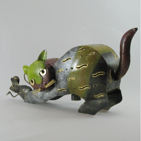 Chat souris métal artisanat jardin maison