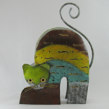 Chat métal artisanat jardin maison