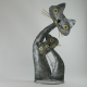 Chats calins métal artisanat jardin maison