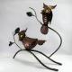 Duo hibou sur branche métal artisanat jardin maison