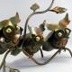 Trio hibou sur branche métal artisanat jardin maison
