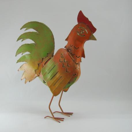 Coq métal artisanat jardin maison