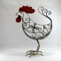 Coq/Poule métal artisanat jardin maison