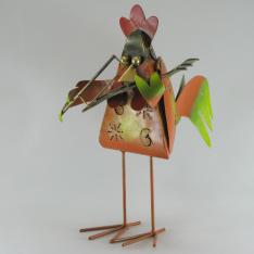Coq violoniste métal artisanat