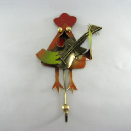 Patère coq guitare métal