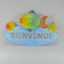 Plaque murale de bienvenue poisson en métal