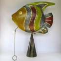 Cloche murale poisson métal fait-main