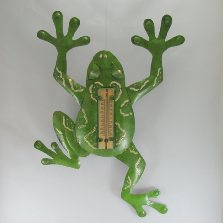 Thermomètre mural grenouille métal