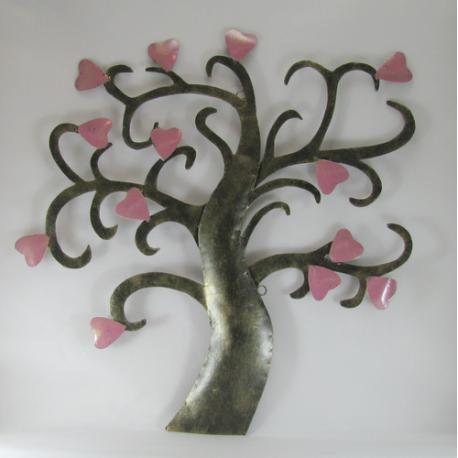Décor mural arbre et coeur -réalisation artisanale en métal