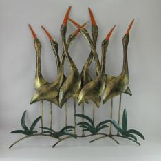 Décor mural hérons-réalisation artisanale en métal