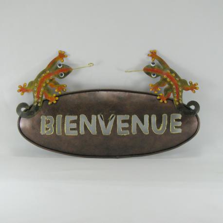 Plaque murale de bienvenue salamandre en métal