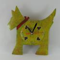 Horloge chien métal artisanale