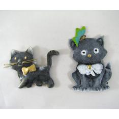 2 Magnets chats métal