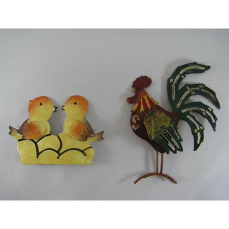 2 Magnets coq-poussins métal