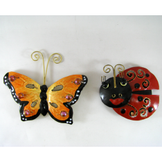 2 Magnets coccinelle-papillon métal