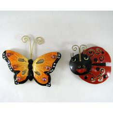 2 Magnets coccinelle-papillon métal