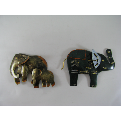2 Magnets éléphants métal