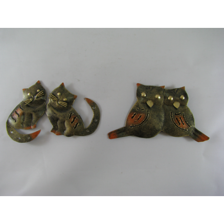 2 Magnets duo hibou-duo chat métal