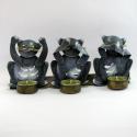 Bougeoir 3 chats de la sagesse métal