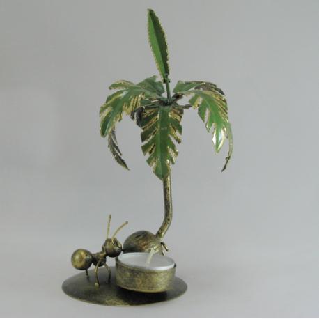 Bougeoir palmier métal