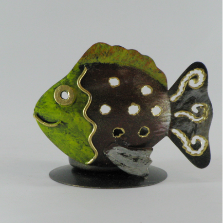 Bougeoir poisson métal