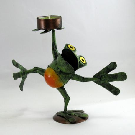 Bougeoir grenouille qui danse métal