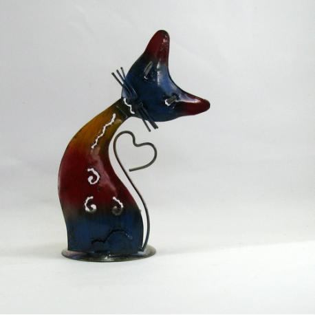 Bougeoir chat coeur métal