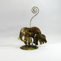Porte crayon et photo duo éléphant métal