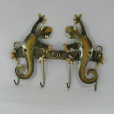 Porte clés 2 salamandres métal