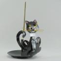 Porte-encens chat métal