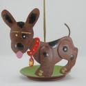 Porte-encens chien métal