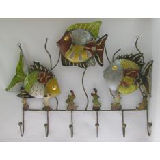 Porte-manteaux mural poissons métal