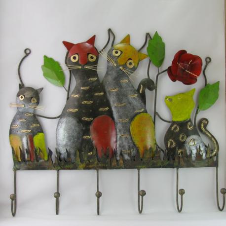 Porte-manteaux mural chat métal