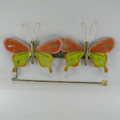 Porte papier mural 2 papillons métal