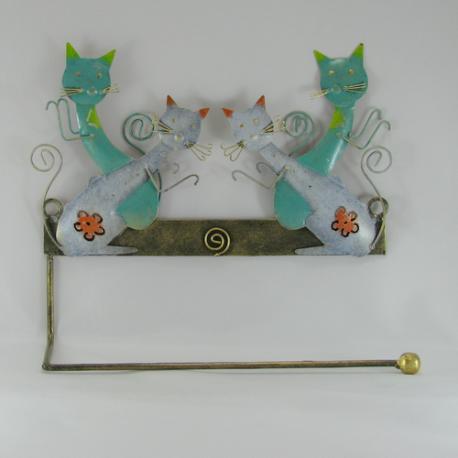 Porte papier mural 2 chats métal
