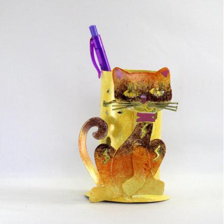 Pot crayon chat chic métal