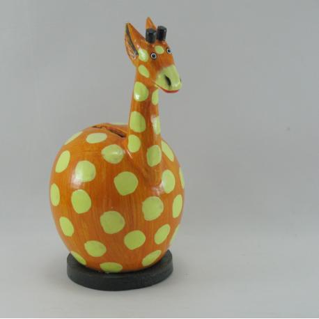 Tirelire girafe en bois