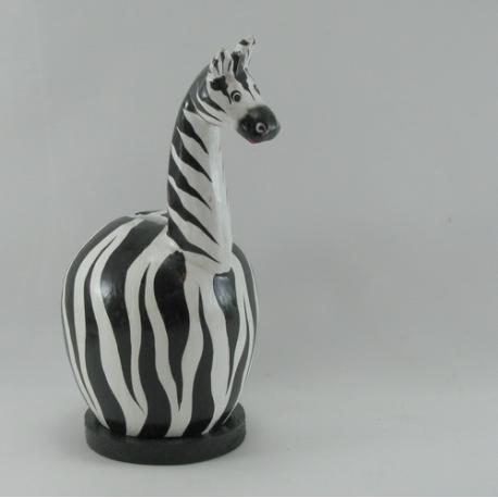 Tirelire zebre en bois