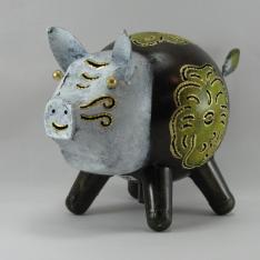 Tirelire cochon en métal