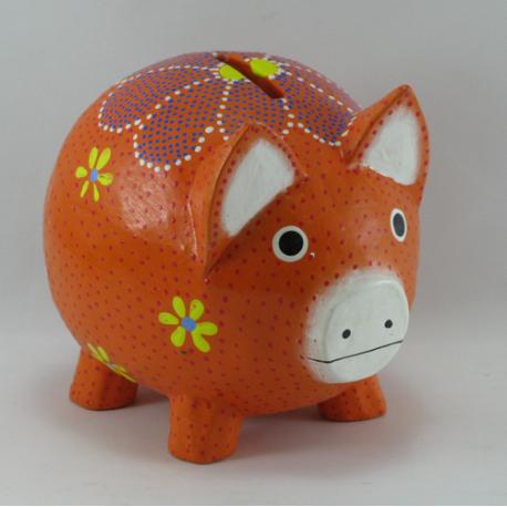 Tirelire cochon en bois